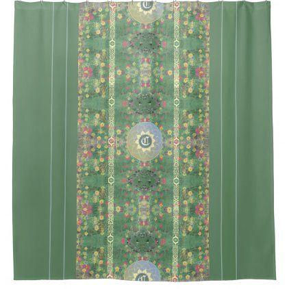 Gothic Floral Green Grey Heart Mandala Shower Curtain Zazzle Com In 2020 Mandala Shower Curtain Floral Shower Curtains Custom Shower Curtains
