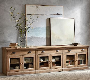 Build Your Own Lucca Modular Office Collection Pottery Barn In 2020 Glass Cabinet Doors Tv Stand With Glass Doors Large Tv Stands