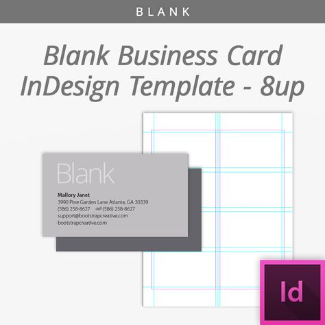 Blank InDesign Business Card Template 8 Up Free Download - blank business card template