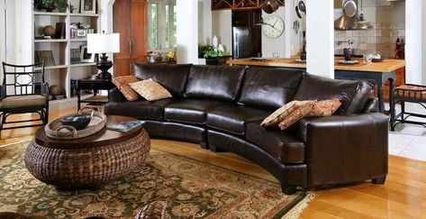 Gorgeous Rustic Leather Sectional Sofa Curved Interesting For Your Home
