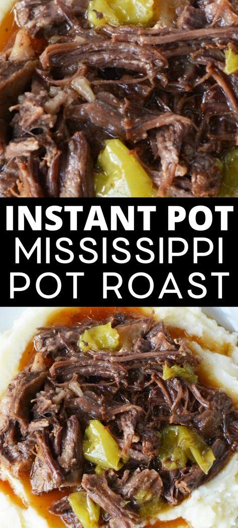 Instant Pot Mississippi Pot Roast - A Mom's Impression - Roast Recipes Chuck Roast Recipes, Pot Roast Recipes, Cooking Recipes, Recipe For Roast Beef, Crockpot Beef Recipes, Beef Meals, Game Recipes, Chicken Recipes, Best Instant Pot Recipe