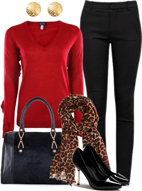Looking for a Leopard scarf here in Paris, Tx. Fall Winter Outfits, Winter Fashion, Red Top Outfit, Casual Outfits, Cute Outfits, Work Outfits, Outfit Work, How To Have Style, Leopard Scarf