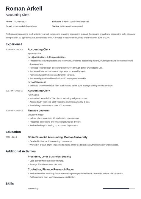 Accounting Clerk Resume Example Template Minimo Job Resume Examples Resume Examples Accounting Jobs
