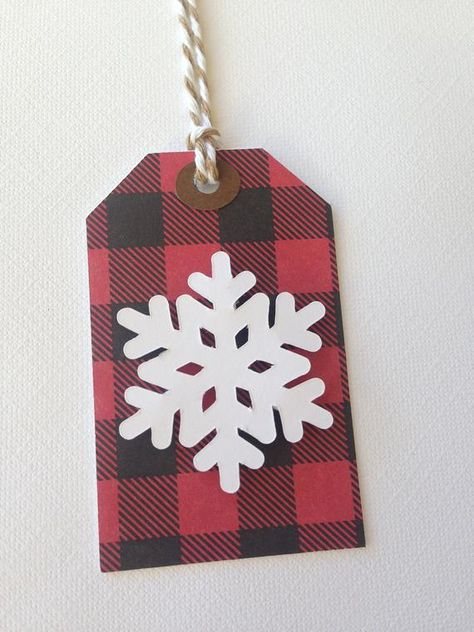 Buffalo plaid snowflake gift tags