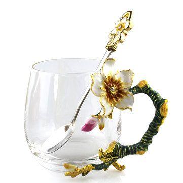 Enamel Glass Rose Flower Tea Cup Set Spoon Coffee Cup Cold Drinks Beer Mug Newchic Mobile Dekorasyon