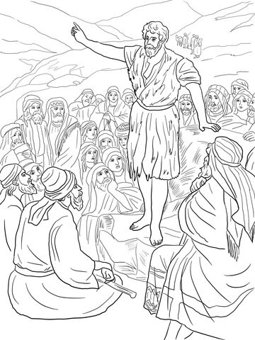 John The Baptist Preaching In The Wilderness Coloring Page From