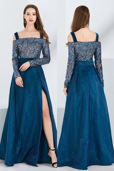 9bd6db0b48f Only $95, Blue Velvet Slit Sequined Formal Dress With Off Shoulder Long  Sleeves #CK771 at SheProm. #SheProm is an online store with thousands of  dresses, ...