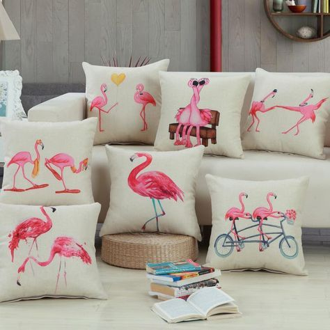 Pillow Cover Flamingo Print Cotton