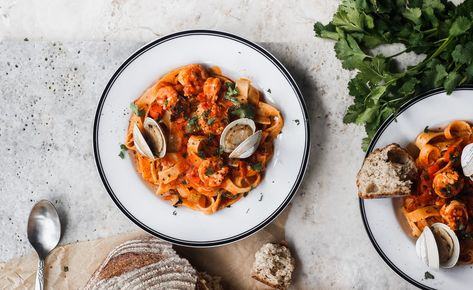 Spicy Seafood Tagliatelle Pasta