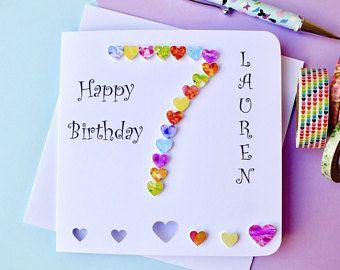 7th Birthday Card Age 7 Birthday Card Personalised Handmade Happy Birthday Son Daughter Grand Girl Birthday Cards Kids Birthday Cards Birthday Cards