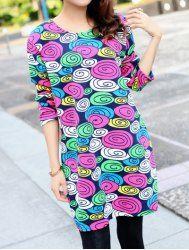 Stylish Scoop Neck Long Sleeve Jacquard Oversized Dress For Women