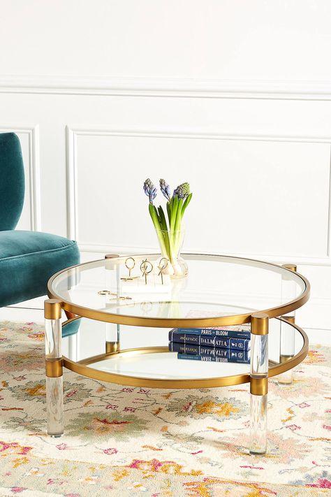 Oscarine Lucite Bar Cart Round Coffee Table Mirrored Coffee