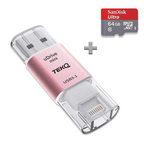 carte mini sd 64 go certifié Apple MFi] Tekq Mini UDrive lecteur de carte MicroSD vers
