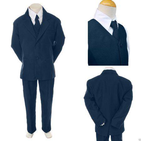 5pc Set Baby Baby Toddler Kid Teen Boy Wedding Formal Black Tuxedo Suit sz S-20