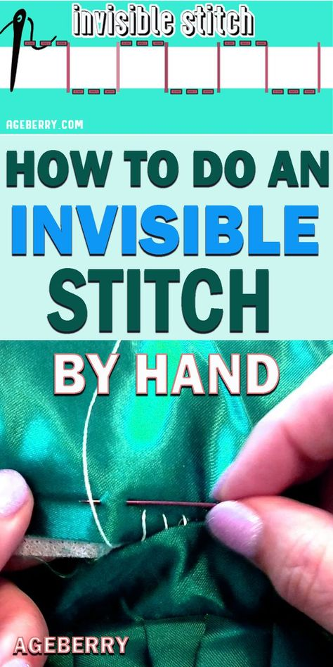 Invisible stitch: how to use it for fixing a tear and sewing invisible (blind) hems Step-by-step sewing tutorial on making an invisible stitch by hand so you can repair a tear in your favorite pillow or sew invisible hems Sewing Basics, Sewing Hacks, Sewing Tutorials, Sewing Crafts, Sewing Patterns, Sewing Tips, Apron Patterns, Tutorial Sewing, Dress Patterns