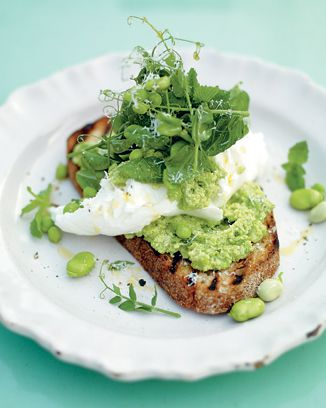 Jamie Oliver's 'Incredible Smashed Broad Beans and Peas on Toast'. I have made this and it was delicious.