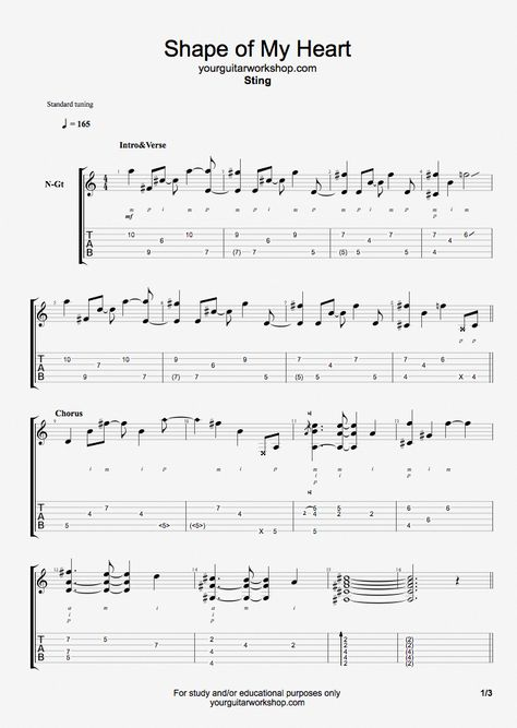 Guitar Tab Shape Of My Heart By Sting Guitarpro6 Sheetmusic Your Guitar Workshop Total Guitar With Images Basic Guitar Lessons Online Guitar Lessons Guitar Lessons