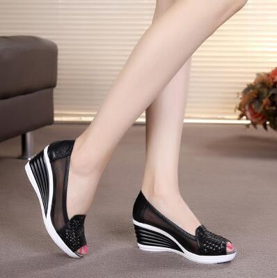5a7b2da2b2da 2018 mujeres acuña los zapatos tacón del peep toe de verano de malla  zapatos de la señora aa0211