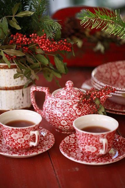 Perk up a dreary winter afternoon with a pretty red tea party. I own the blue, need the get some red!