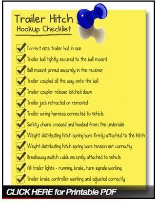 Trailer Hitch Hookup Checklist Trailer Trailer Hitch Travel Trailer