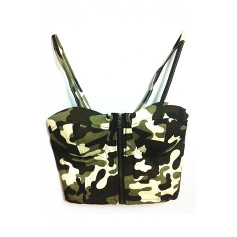 a705bc9e19cba Hunter Green Camouflage Print Zipper Front Crop Bralets (28 CAD) ❤ liked on Polyvore  featuring tops