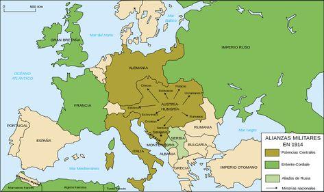 Mapa de Las Alianzas militares en 1914