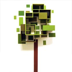 Shelves inspired by trees! But make it circular using PVC or cardboard tubes