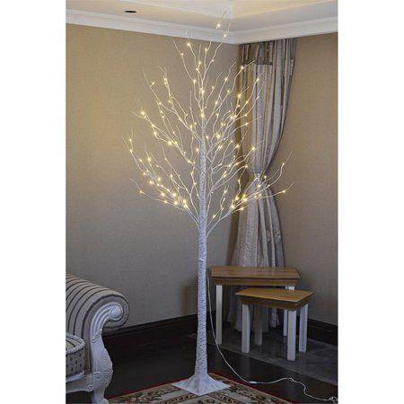 Lightshare 8ft Birch Tree With 132 Warm White Lights Birch Tree Decor Warm White White Light