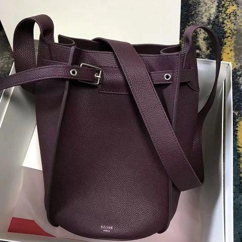 Celine Big Bag Bucket Bag With Long Strap in Grained Calfskin Oak Blood 2018
