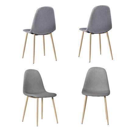 Outstanding Zimtown 4 Pcs Gray Mid Century Modern Style Dining Chair Machost Co Dining Chair Design Ideas Machostcouk