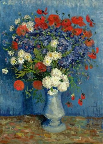 Stillleben Vase Mit Kornblumen Und Mohnblumen 1887 Mit Bildern Van Gogh Blumen Kunstmalerei Blumen Wie Man Blumen Malt