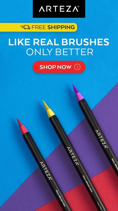Amazon Com Arteza Real Brush Pens 96 Paint Markers With Flexible