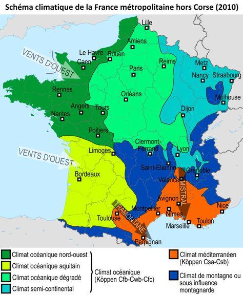 France Climats Carte 2010 Climat Mediterraneen Wikipedia Avec