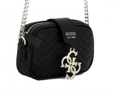 GUESS LOGO TASCHE Handtasche, Kettenhenkel, schwarz gesteppt