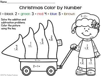 Free Christmas Color By Number Addition Subtraction Within 10 Coloring Worksheets For Kindergarten Addition Coloring Worksheet Christmas Color By Number