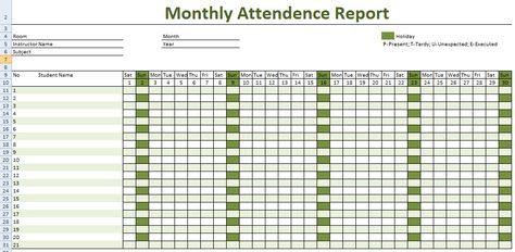 attendance spreadsheet excel