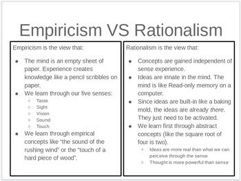 Note Taking Template For Teaching The Difference Between Empiricism And Rationalism Teacher Lesson Plans Rationalism Teaching