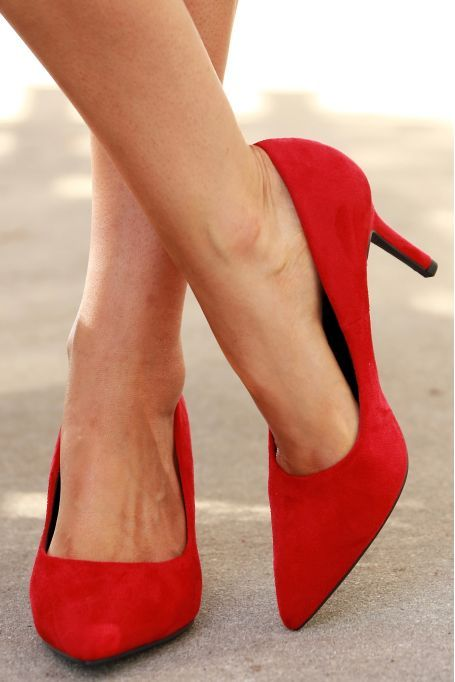 Suede Pump Bright Red | Suede pumps