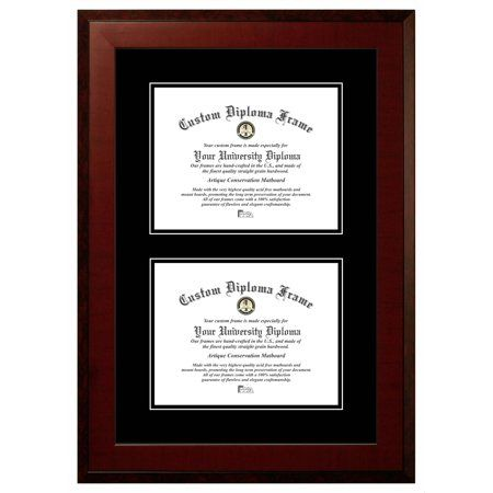 8 5x11 Double Degree Honors Mahogany Double Black Mats Certificate Frame Size 8 5 Inch X 11 Inch Certificate Frames Frame Diploma Frame