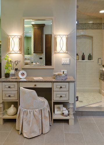 I wish! Beige Makeup Vanity Design, Pictures, Remodel, Decor and Ideas