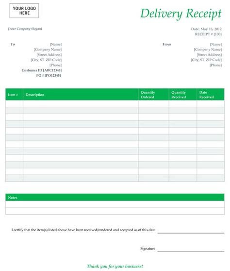 Delivery Receipt Form Template Free Places to Visit Pinterest - free form templates