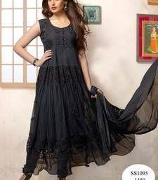 Buy Black Brasso Anarkali Suit party-wear-salwar-kameez online