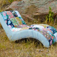 Boho Floral Patchwork Tufted Chaise Lounge by by vintagerenewal : funky chaise lounge - Sectionals, Sofas & Couches