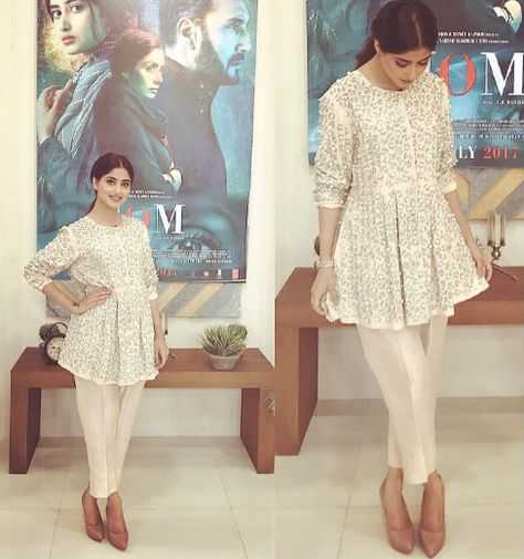 sajal ali in white short frock , click on it for more beautiful pics  . looking nice .