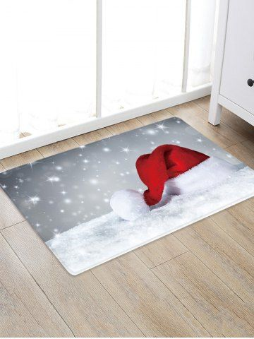 Christmas Hat Snowfield Pattern Water Absorption Area Rug Cozy Christmas Decor Christmas Mantle Decor Minimalist Christmas Decor