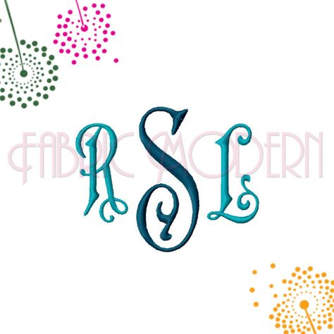 Three Letter Monogram Embroidery Font Two Sizes Center And Side Letters For Each Size 596 Embroidery Monogram Fonts Embroidery Fonts Monogram Letters