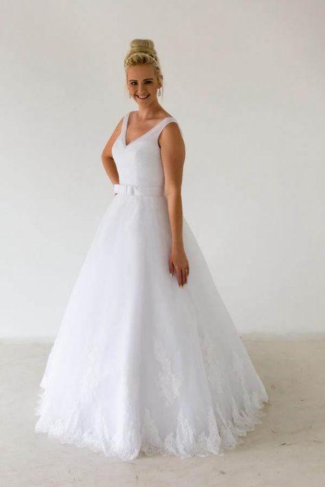 ca30784433c Simple Sweep Floor V-neck Straps Lace Applique Tulle Wedding Dresses   weddingdress  angrila  bride  bridal