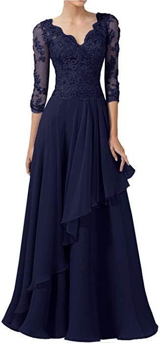 Lang Chiffon Kleider Brautmutter Ballkleid Hochzeitskleid Abendkleid Partykleid
