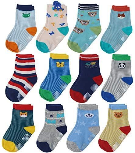 5 Pairs Toddler Socks Anti Slip Baby Boys Girls Non Slip Cotton Blend Sock 0-6