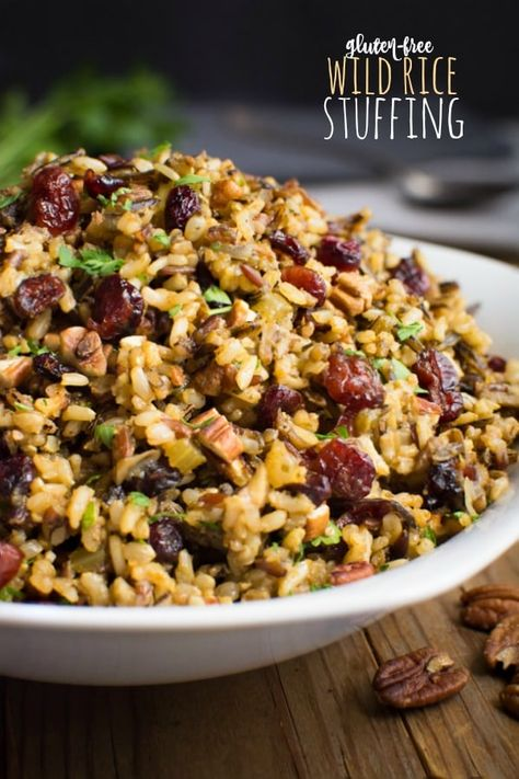 Wild rice stuffing is an easy gluten-free side dish that will complete your holiday table. It has all the classic stuffing flavors without the filler! So serve this bread-less alternative at your next holiday gathering! It's also vegan and can be made nut-free! #glutenfreeside #holidayside #glutenfreestuffing #wildricerecipe #holidaystuffing #stuffingalternative #veganside
